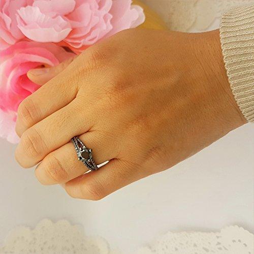 1.35 Carat (Ctw) Black Rhodium Plated Silver Black Diamond Ladies Bridal Engagement Ring Set (Size 6.5) by DazzlingRock Collection (Image #6)