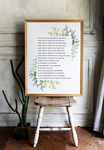 Les Connie Prayer for Peace Prayer of Saint Francis Lord Make me an Instrument of Your Peace Prayer Print for Home Nursery Art Watercolor Print