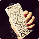 Iphone 6 Plus Case, Baroque Retro Court Lace Pattern Texture Hard Plastic Clear Case for Apple Iphone 6 5.5 Inch (#2)