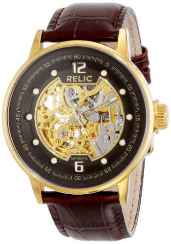 Relic Men's Damon Automatic Skeleton Brown Leather Watch ZR77241