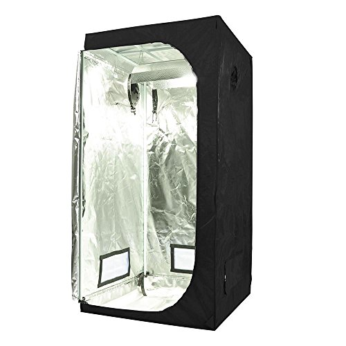 51BA6u9YN0L - 600D Grow Room Tent 100% Waterproof Diamond Mylar Reflective Hydroponic w/Large Window Cabinet Size Option