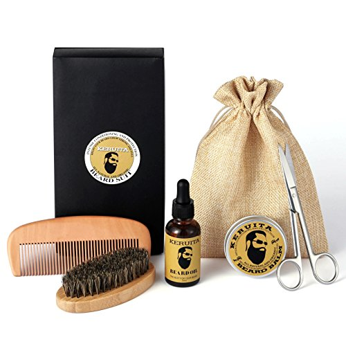 Beard Grooming & Trimming Kit for Men with Beard Brush, Beard Comb, Beard Oil, Mustache & Beard Balm Butter Wax for Styling, Shaping & Growth, Men's Gift set, Best Gift for Father's Day