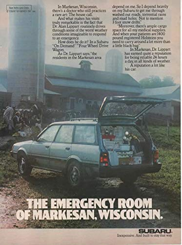 "Magazine Print Ad: 1986 Subaru Wagon, Veterinarian Dr Alan Lippart,""The Emergency Room of Markesan, Wisconsin"""