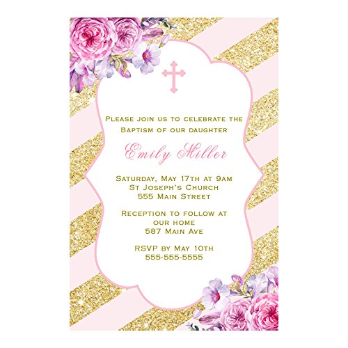 30 Invitations Personalized Girl Baptism Christening Pink Gold Stripes Photo Paper
