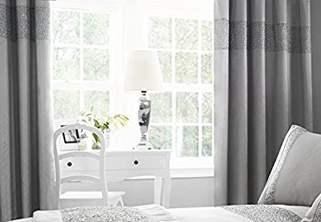 Sparkle Glitz Faux Silk Sequin Eyelet Lined Curtains Set 66quot X 90quot