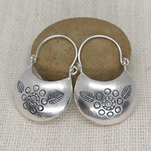 (Sterling Silver Boho Moon Hoop Earrings, Handmade 3d Crescent shape Hippie Floral Bohemian)