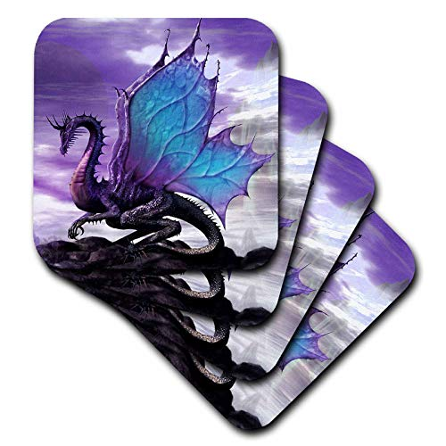 (3dRose Mythical - Fairytale Dragon - set of 4 Ceramic Tile Coasters)