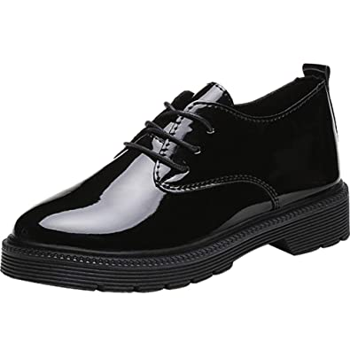 wealsex Chaussures de Ville à Lacets Cuir Vernis Femme Derby Chaussure  Plate Bureau Decontracté Confort( b5cf1fdfd8fe