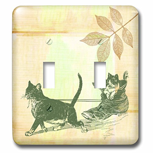3dRose lsp_99189_2 Cat Sled- Fun Pets- Animals Art Double Toggle Switch ()