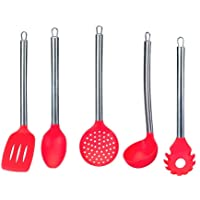 Conjunto de Cozinha c/5 pçs Silicone/Aço Inox Vermelho