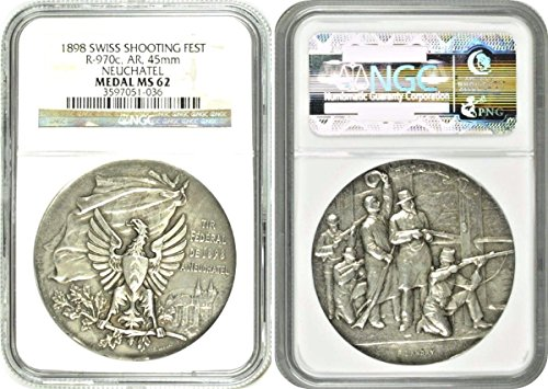 1898 CH Swiss 1898 Silver Shooting Medal Neuchatel Eagle coin MS 62 NGC