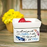 Refuge Under His Wings Feathers Psalm 91:4 Ceramic Stone 2 in 1 Jar Candle and Wax Tart Oil Warmer