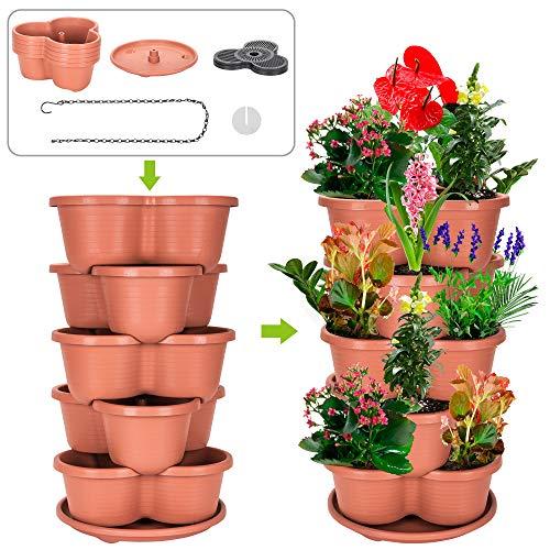 Amazing Creation Stackable Planter Vertical Garden for Growing Strawberries, Herbs, Flowers, Vegetables and Succulents| Indoor/Outdoor 5 Tier Gardening Tower| Hanging Planter (Terracotta) (Outdoor Garden Pots Large)