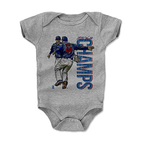 500 LEVEL Anthony Rizzo Baby Clothes, Onesie, Creeper, Bodysuit 6-12 Months Heather Gray - Chicago Baseball Baby Clothes - Anthony Rizzo Kris Bryant Champs B