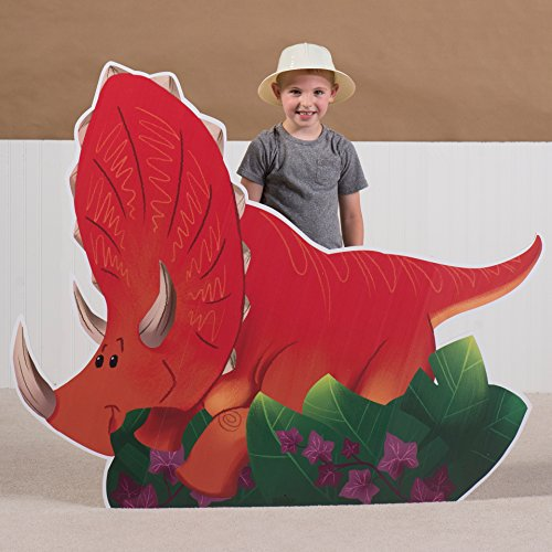 3 ft. 9 in. Dino Tales Dinosaur Triceratops Standee Standup Photo Booth Prop Background Backdrop Party Decoration Decor Scene Setter Cardboard Cutout