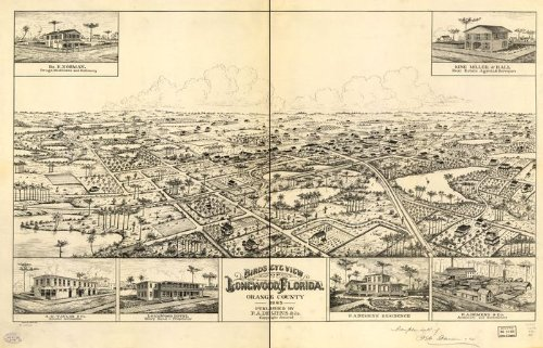 Historic Panoramic Map Reprint: Bird's eye view of Longwood, Florida, Orange County 1885. G. A. Miller, del. Forbes Co. Photo-lith. 36 x 24