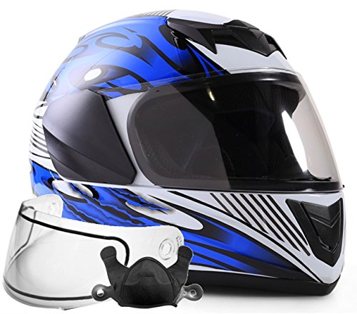 Typhoon Helmets Youth Kids Full Face Snowmobile Helmet DOT Dual Lens Snow Boys Girls - Blue ( Large ) (Snowmobile Helmet Youth)