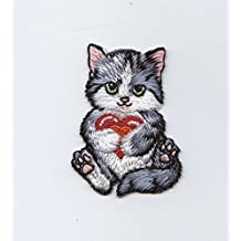 Cat holding Red Heart Iron on Embroidered Patch