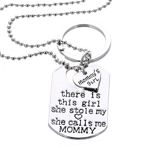 Set - Mommy's Girl - Great Gift For Mother And Daughter - Personalized Jewelry (Cute Button Necklace)