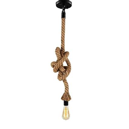Vintage cuerda lámpara colgante retro cáñamo cuerda – Lámpara de techo AC220 V E27 Capacidad (sin bombilla) para puestos de salón Bar Públicas Dekor ...