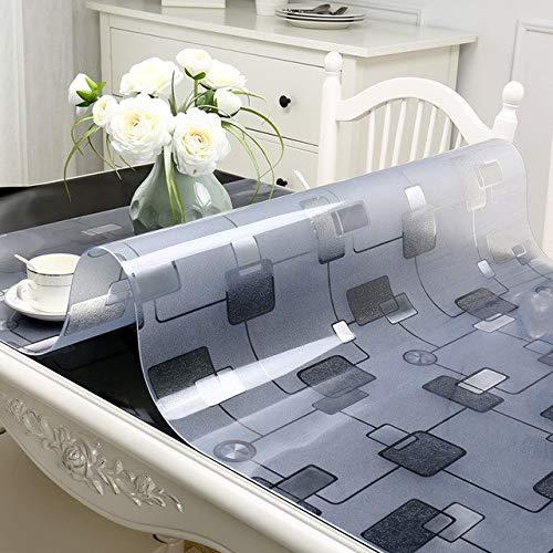 Pvc Waterproof Tablecloth Square tablecloth Table Cover Transparent kitchen pattern oil tablecloth glass soft cloth 1.5mm mat  geometric B07RSNBJ68