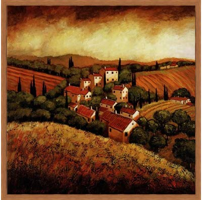 Poster Palooza Framed Tuscan Hillside Village- 24x24 Inches - Art Print (Honey Pecan ()