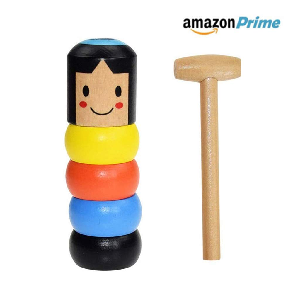 Feeke Unbreakable Wooden Man Magic Toy, Stubborn Wood Man Magic Tricks Props Toys Children Kids Magia Easy Doing Gift for Halloween Christmas Party by Feeke