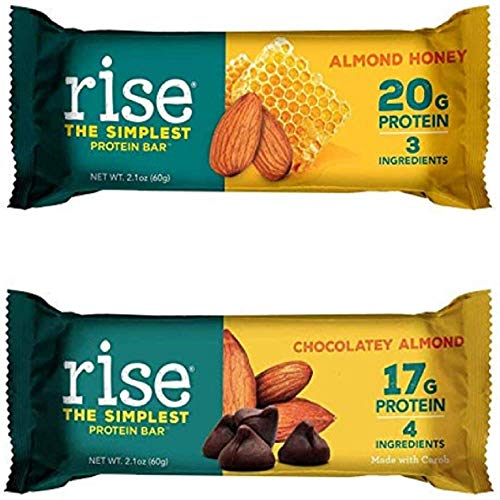 Rise Non-GMO, Gluten Free, Soy Free, Real Whole Food, Whey Protein Bar, No Added Sugar, High Protein Bar with Fiber, Potassium, Vitamins & Nutrients 2.1oz (Chocolatey Almond and Almond Honey)