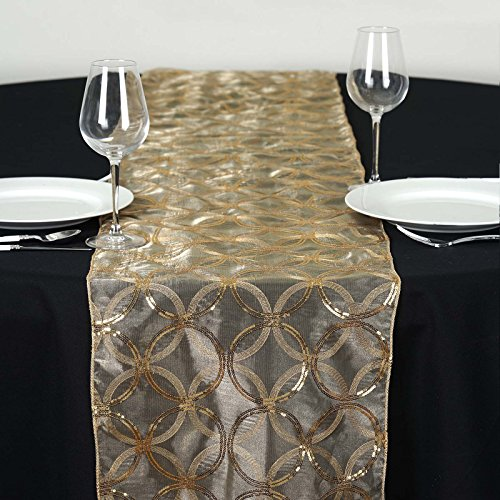 BalsaCircle 14 x 108-Inch Gold Organza Table Top Runner with Sequin Circles - Wedding Party Reception Occasions Linens Decorations