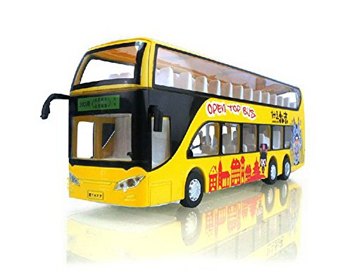 PANDA SUPERSTORE Diecast Chinese Bus Model Double Decker Bus Toy YELLOW (Hong Bus Kong)