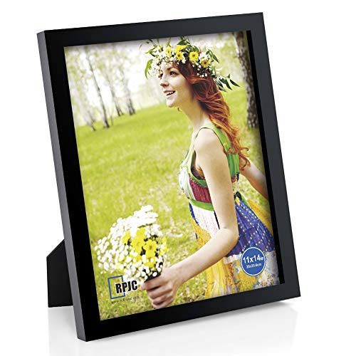 RPJC 11x14 inch Picture Frame Made of Solid Wood and High Definition Glass Display Pictures for Wall Mounting Photo Frame with Stand Black