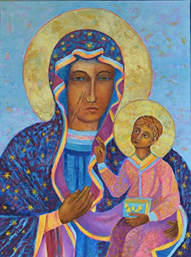 Our Lady of Czestochowa Black Madonna ORIGINAL GENUINE HAND OIL PAINTING ON CANVAS by SmartPolonia