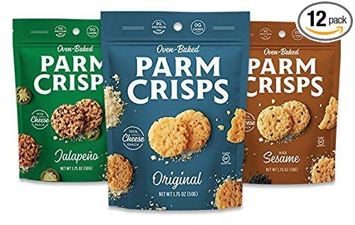 ParmCrisps, Made From 100% Real Parmesan Cheese, Gluten Free, Sugar Free, Keto Friendly, 3 Flavor Variety Pack, 1.75oz Bags (Pack of 12)