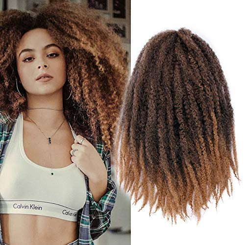 3Packs Marley Hair for Twists Afro Kinky Twist Crochet Hair 18Inch Ombre Synthetic Kanekalon Braiding Hair Extensions(#1B/27) (Best Kinky Twist Hair)