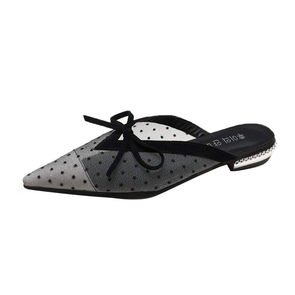 YUCH des Paresseuses Les Pantoufles Pointues des Femmes Portent des Chaussures Portent Paresseuses À L Extérieur Black 15847a2 - conorscully.space