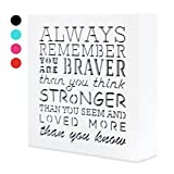 always remember wall panel - Always Remember You Are Braver Than You Think 5,5 x 5,5in by …- Inspirational gifts,Wood Wall Art & Positive Plaque, Great Gift for Mom, Sister or Grandma on the Mother Day,Birthday & etc. (s0)