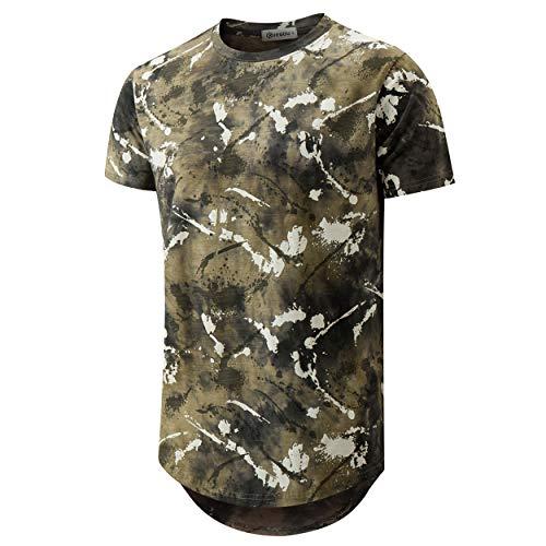 - KLEGOU Mens Hip Hop Tie-Dye Hipster Curved Hem T Shirt (889 ArmyGreen XL)
