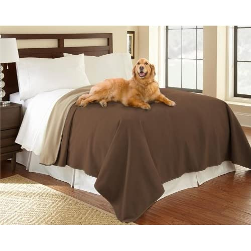 """100% Waterproof Mambe Furniture Cover for Pets and People (King/Queen 90""""x 90"""", Chocolate-Cappuccino)"""