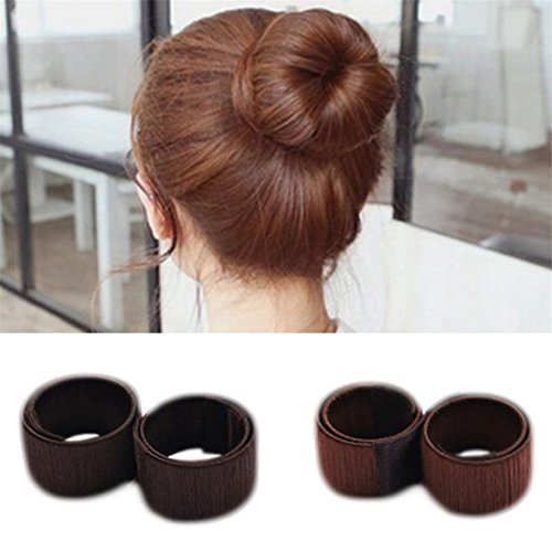 1PC Donuts Bud Head Band Ball French DIY Tool Hair Hair Accessories For Hair Style coffee by HAHUHERT (Image #3)