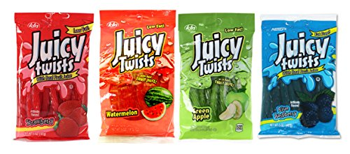 Set of 4 Kenny's Candy Co Juicy Twists! Watermelon, Blue Raspberry, Green Apple, Strawberry! Low Fat Delicious Juicy Twists Made with Real Fruit! (4) ()