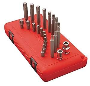 Sunex 24pc 3/8`` & 1/2`` Ribe Bits Holders 30mm & 75mm Long Sockets Bit Set 9724 ;supply_by_toolman525