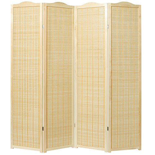 MyGift Deluxe Beige Natural Woven Design Bamboo 4 Panel Folding Room Divider/Portable Privacy Screen