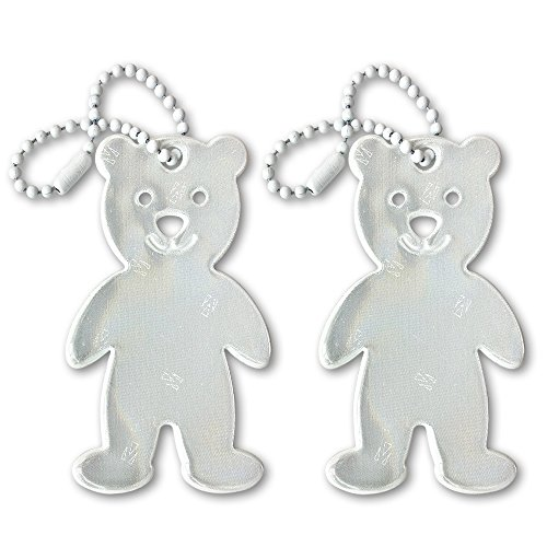 funflector Safety Reflector - Teddy Bear - White - 2-Pack -