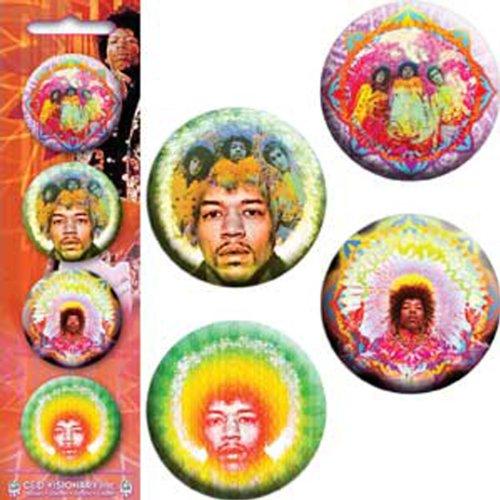 Licenses Products Jimi Hendrix-Kaileidoscope-Mastermind C/U-Electric Daisy-Green Flower 1.25