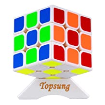 Topsung YJ Yulong Magic Cube Puzzle 3x3 Speed Cube 3x3 White with Tripod Base