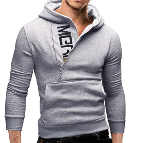 (Snowfoller Fashion Men Long Sleeve Hoodie Casual Side Zipper Design Hooded Pullover Patchwork Sweatshirt Tops Pockets (Gray,)