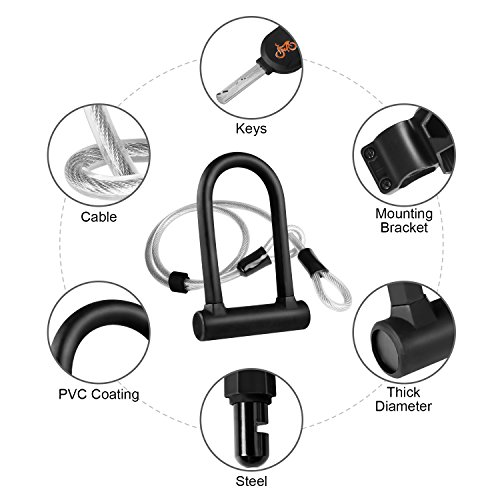 Beauty Star Bike U Lock with Security Cable, 16mm Heavy Duty Bicycle Lock U Lock Shackle Secure Bike Lock Set with 40 Inches Flex Steel Security Cable and Mounting Bracket by by Beauty Star (Image #1)