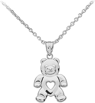 14K Yellow Gold-plated 925 Silver Bear With Cub Pendant Jewels Obsession Silver Bear With Cub Pendant