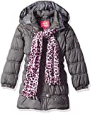 Pink Platinum Girls' Big Long Puffer Jacket with Accessories, Charcoal, 7/8