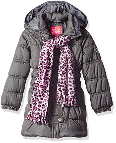 Pink Platinum Big Girls' Long Puffer Jacket with Accessories, Charcoal, 10/12